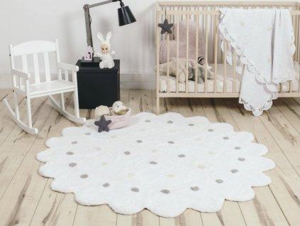 DOTS White kerek mosható szőnyeg