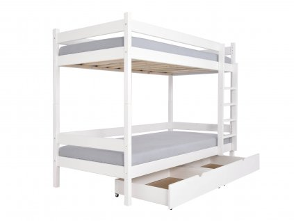 PAULA 2 emeletes ágy 90x200 ágyneműtartóval - fehér