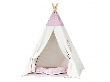 Teepee sátor - rózsaszín csillagok