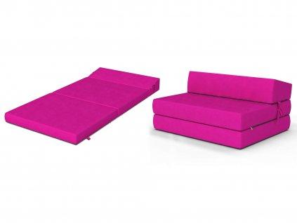 Összehajtható fotelágy 200x120 Rózsaszín