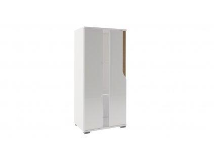 Stílusos falra akasztható vagy lábakon álló vitrines szekrény két üveges polccal