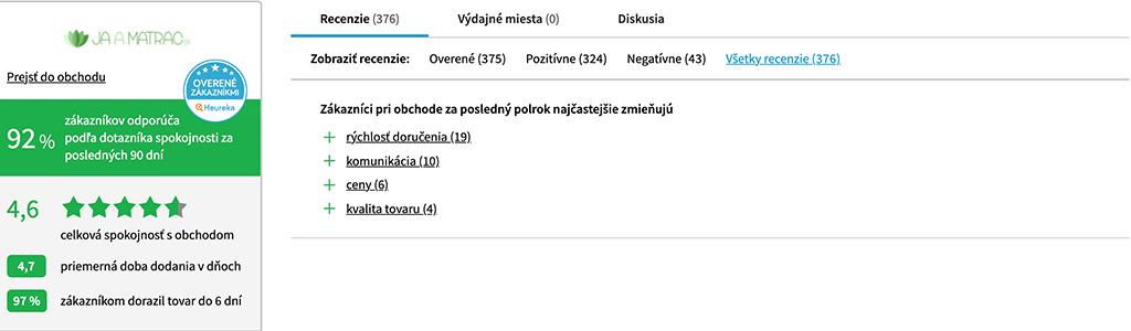 recenzie Heureka jaamatrac.sk