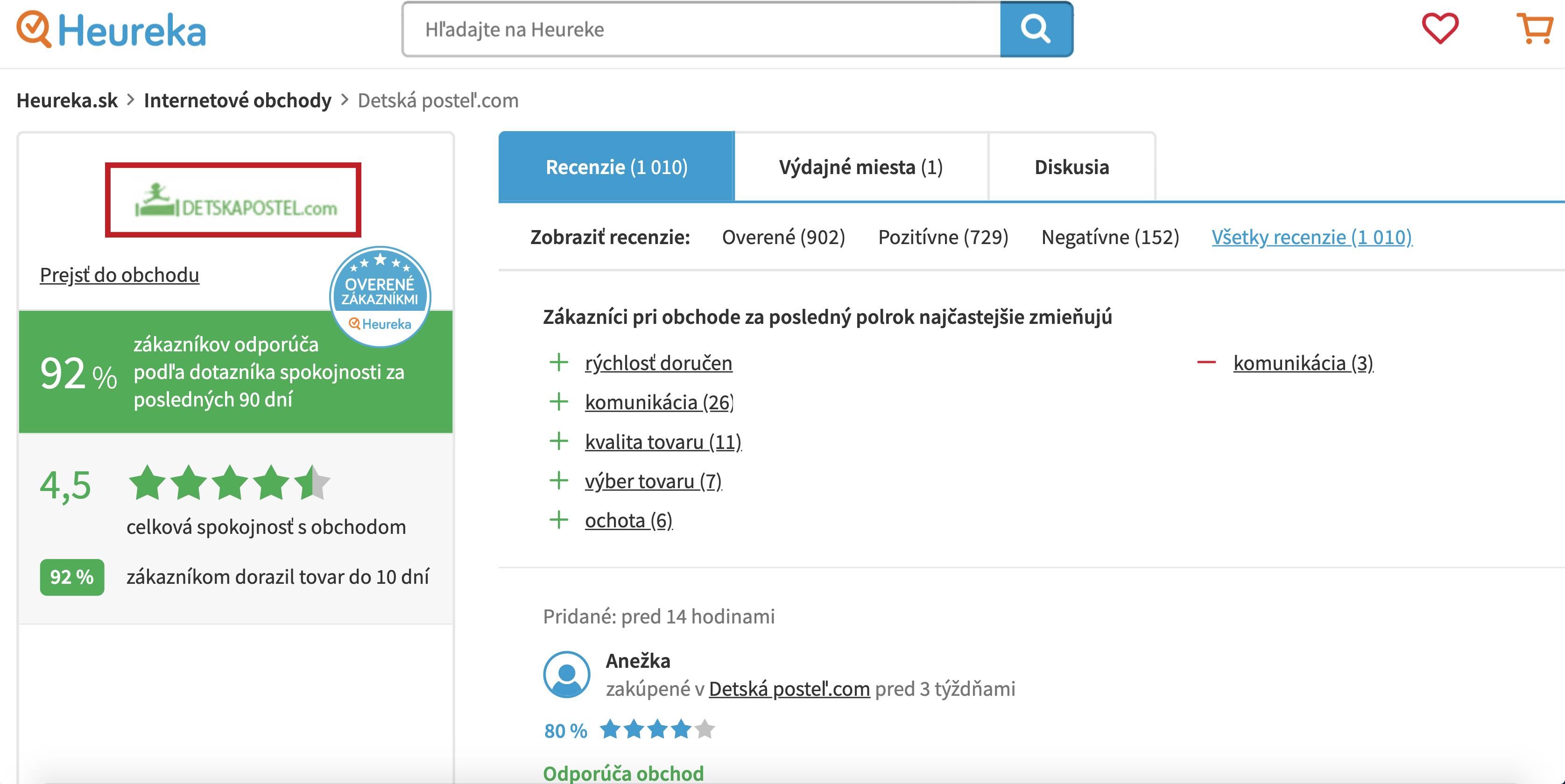 recenzie Heureka detskapostel.com