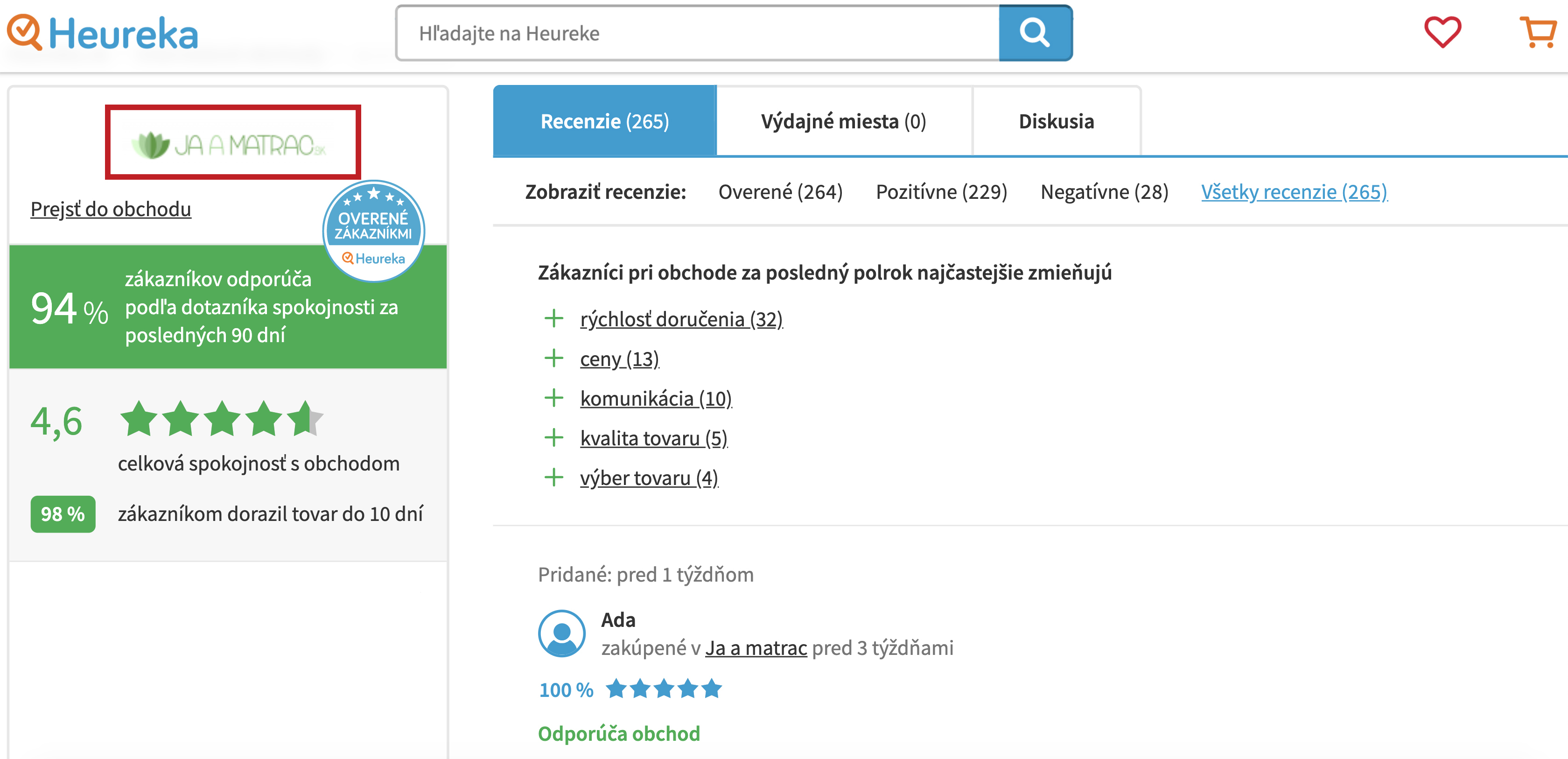 recenzie HEUREKA ja-a-matrac.sk