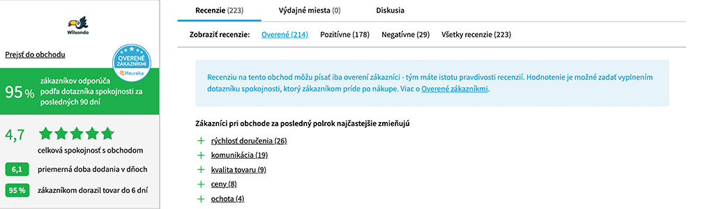 recenzie Heureka wilsondo.sk