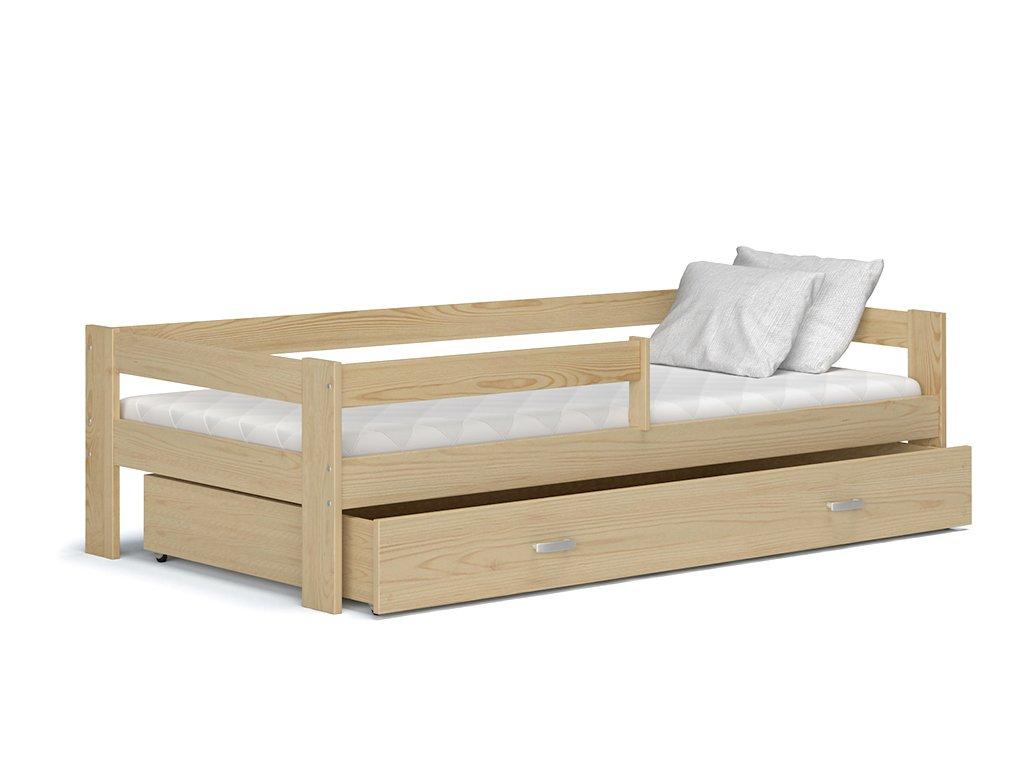 Detská posteľ so zábranou Hugo Borovica 160x80