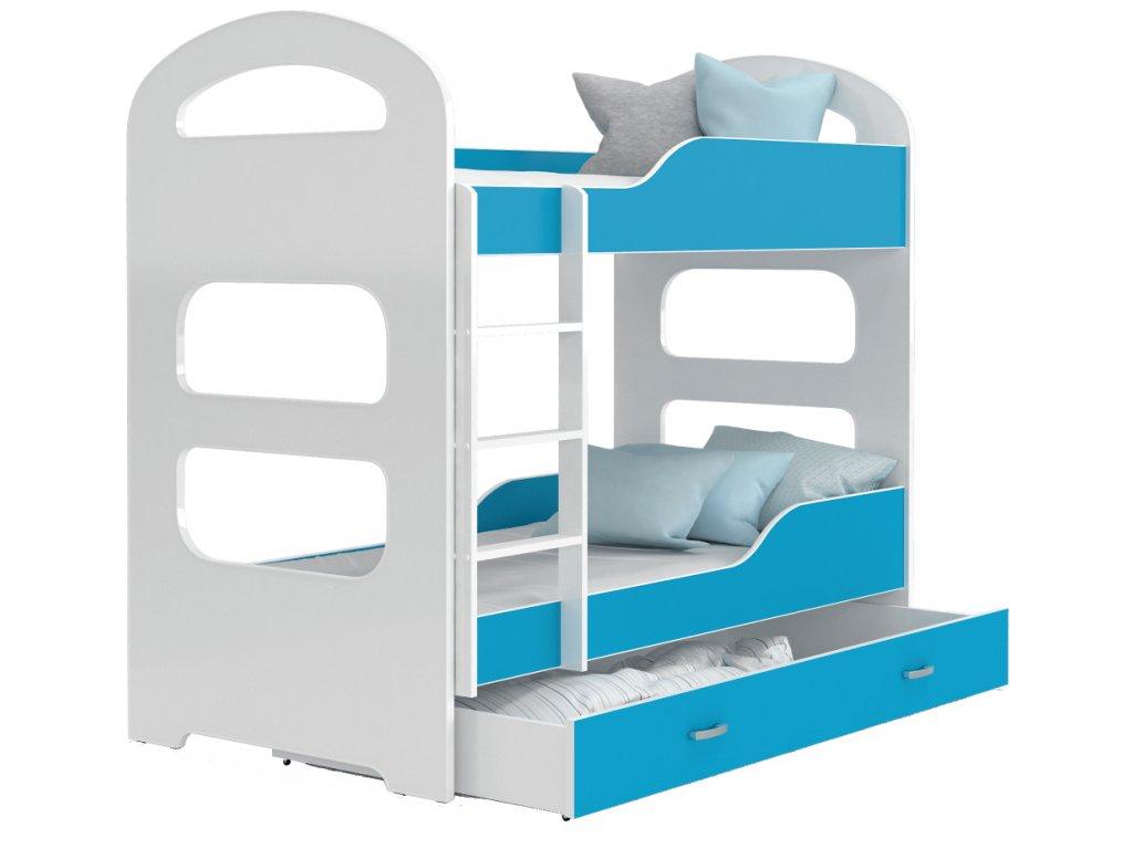 Poschodová posteľ modrá Patrik 160x80
