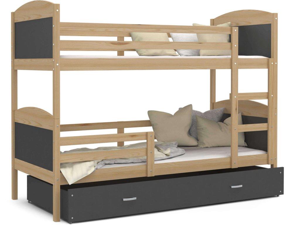 Poschodová posteľ Matúš 2 Color Sivá