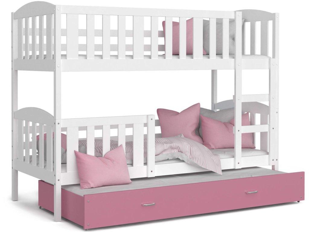Poschodová posteľ pre 3 deti Jakub 3 Color biela 190x80 biela