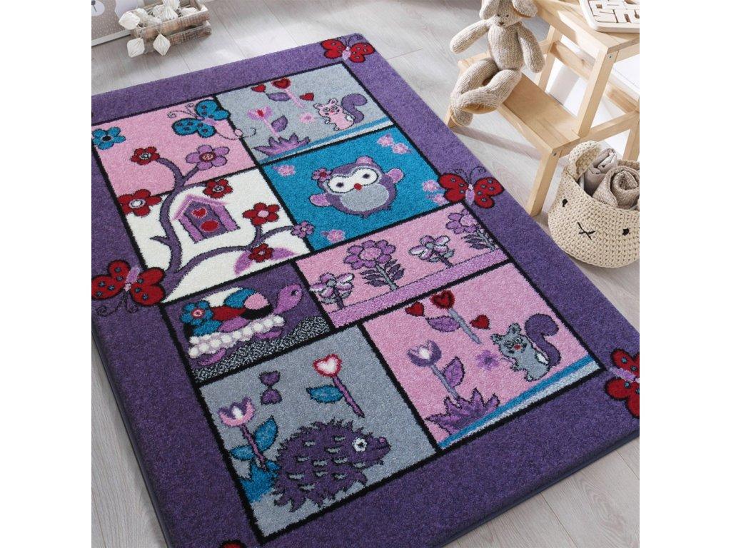 Detský fialový koberec Zvieratká - rôzne rozmery