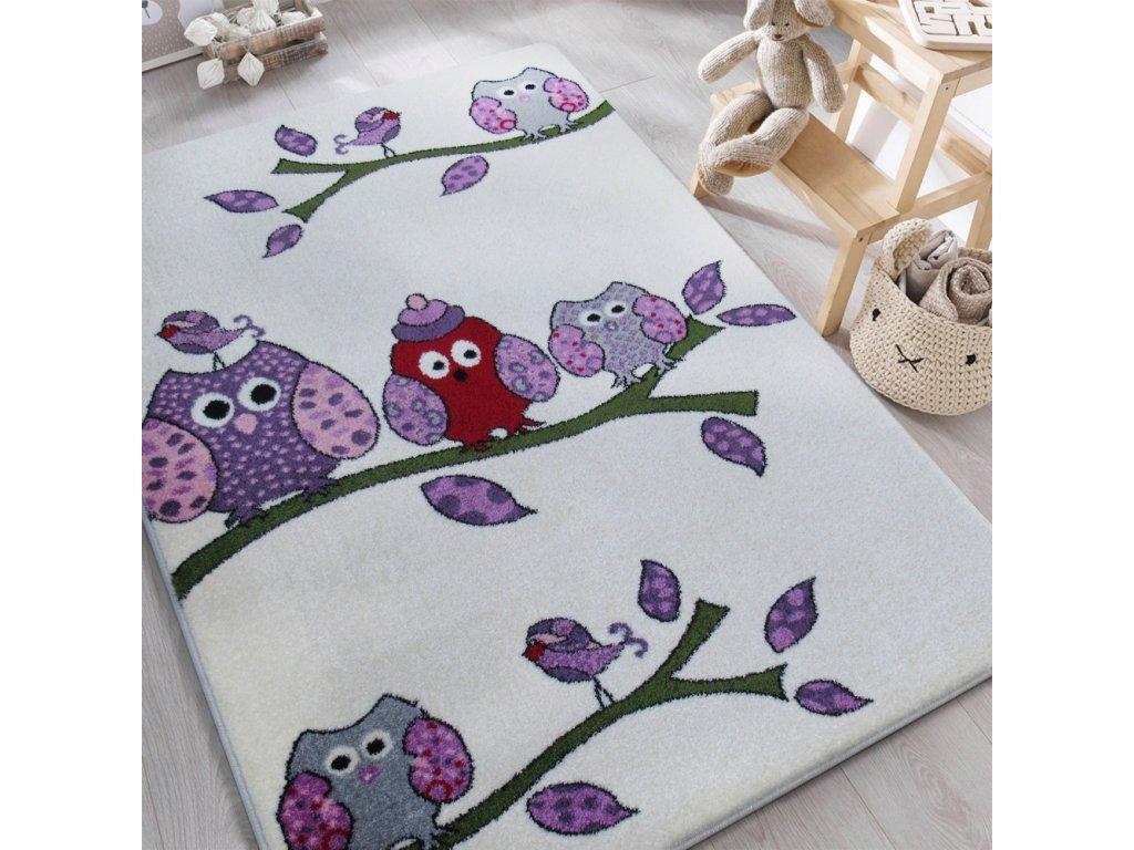 Detský krémový koberec Sovičky - rôzne rozmery