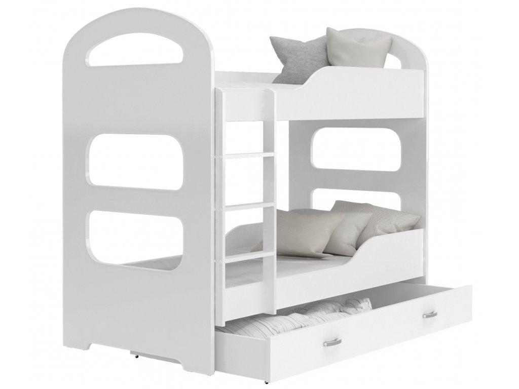 Patrik 190x80 poschodová posteľ biela