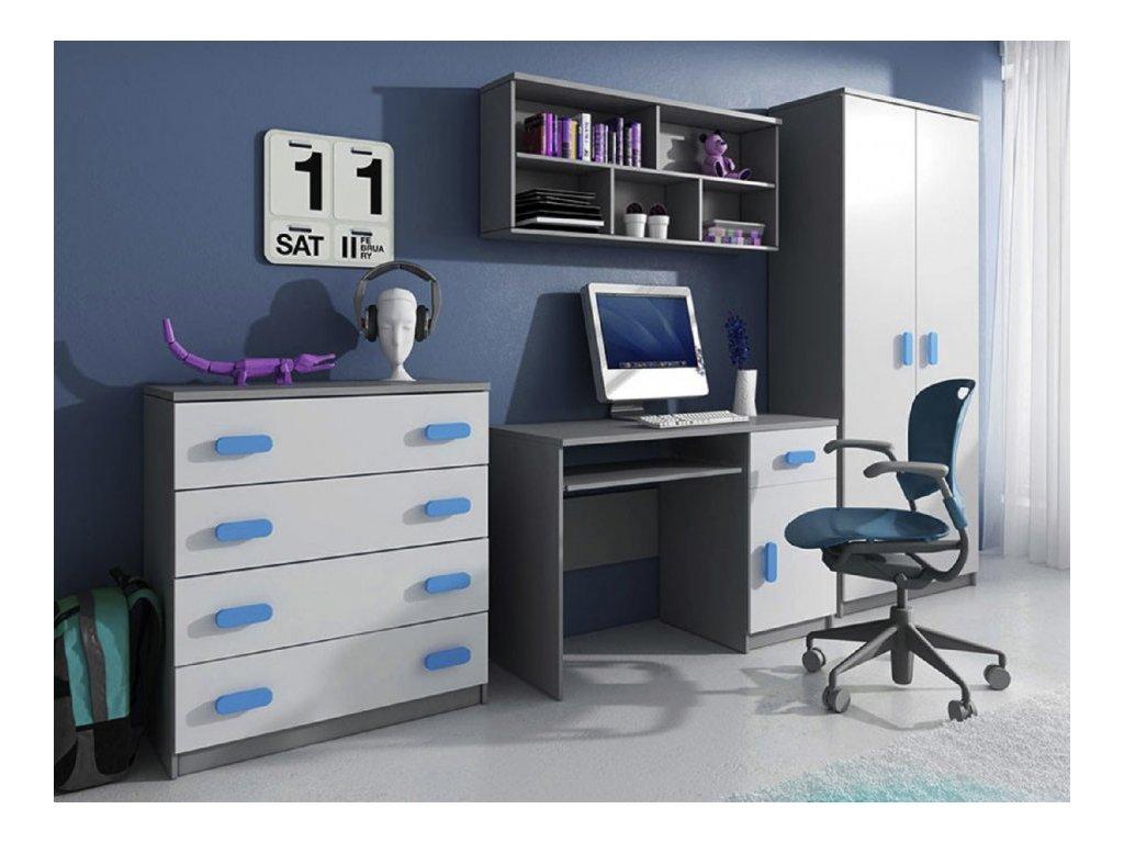 Nábytková stena SVEND - sivá/modrá