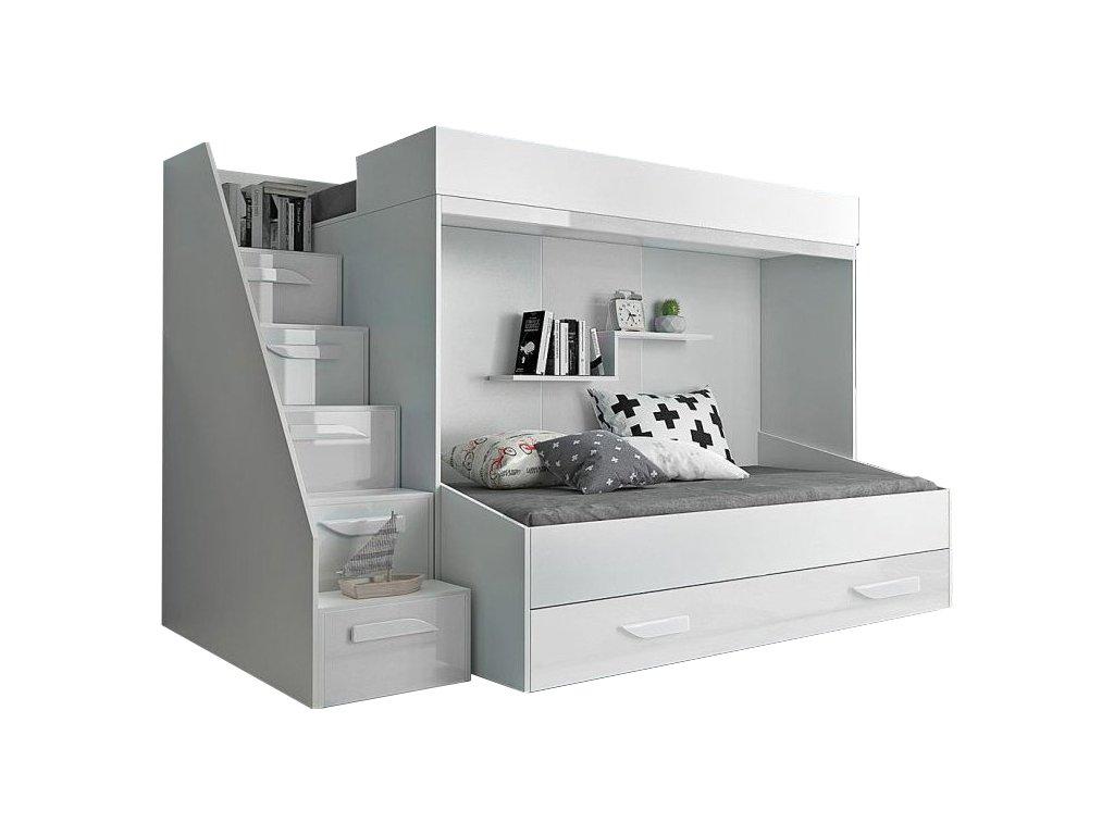 Multifunkčná poschodová posteľ biela Party 16