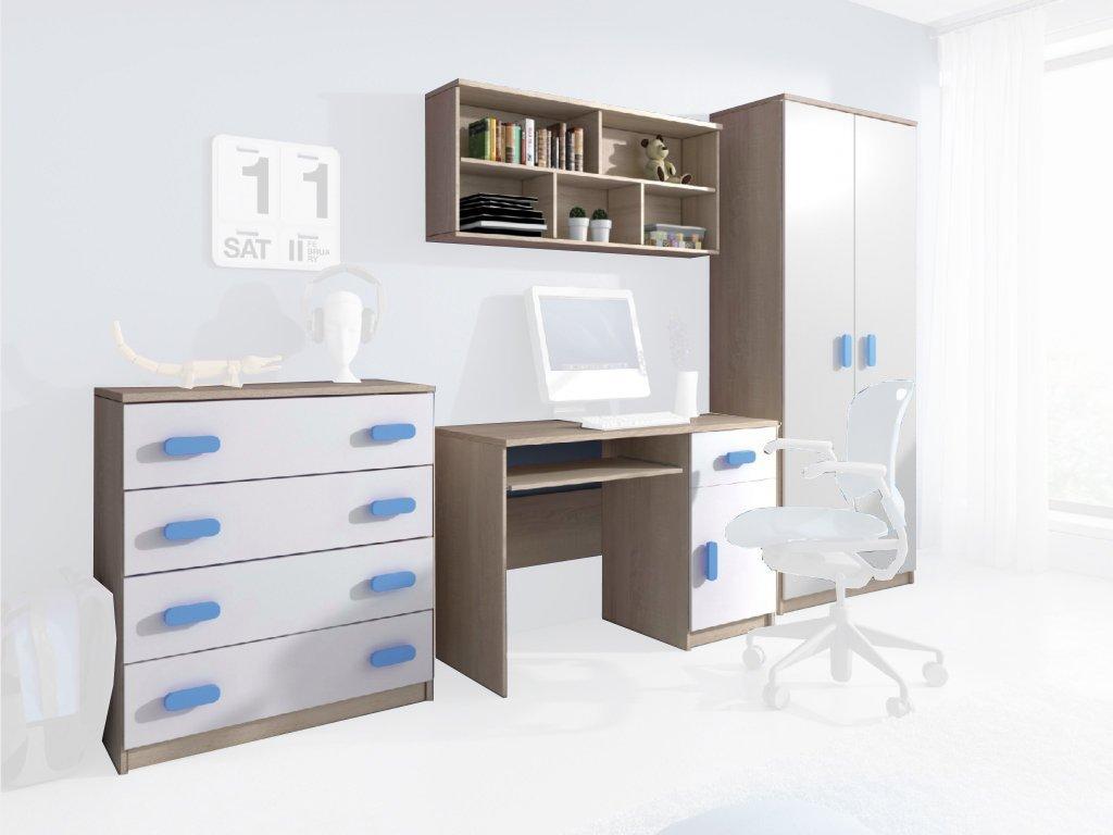 Nábytková stena Svend dub sonoma, modrá