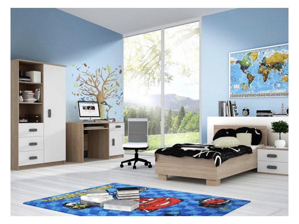 Študentská izba Svend dub sonoma, sivá