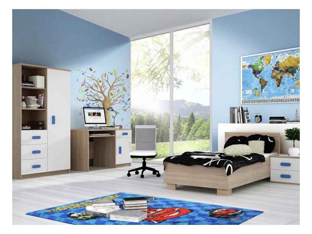 Študentská izba Svend dub sonoma, modrá
