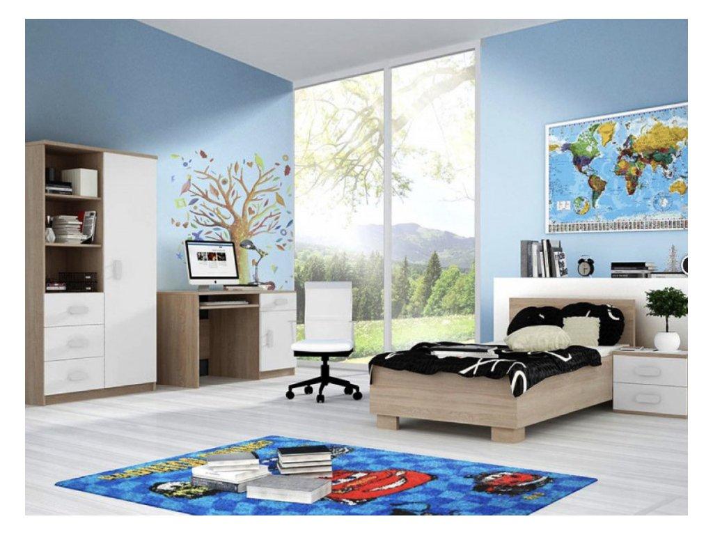Študentská izba Svend dub sonoma, biela