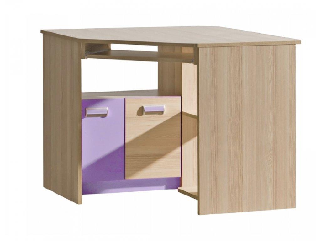 Rohový písací stôl LUCAS  L11 - fialový/zelený