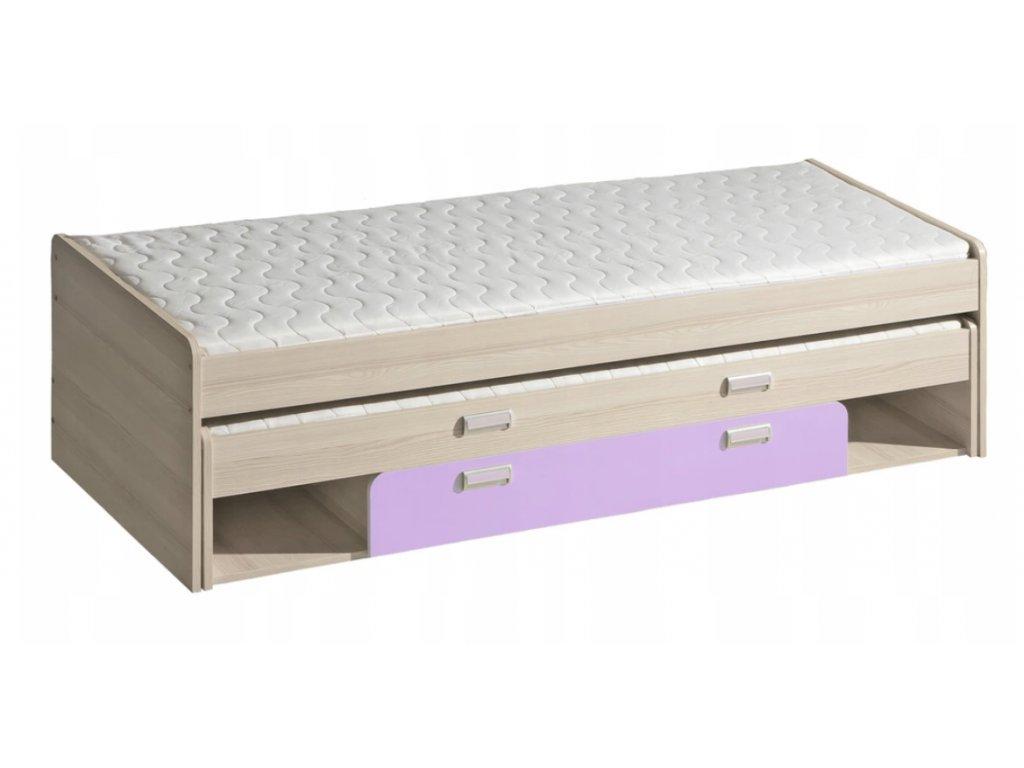 Detská posteľ  LUCAS L16 - fialová/zelená