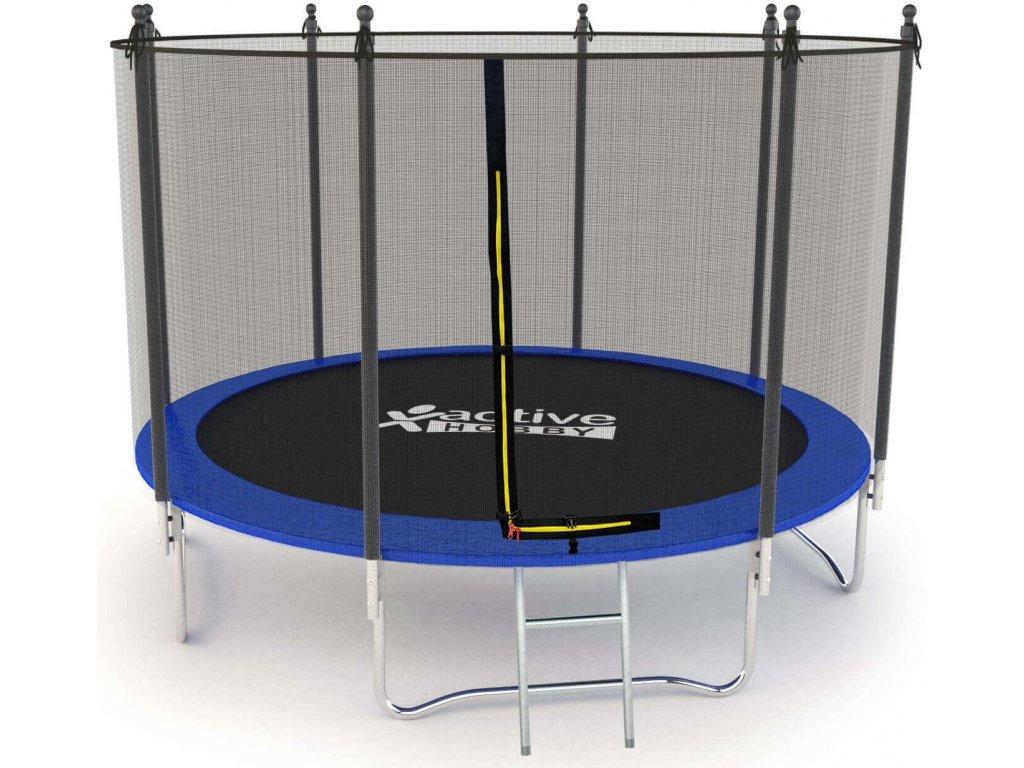 Trampolína v modrej farbe Active Hobby 305cm + ochranná sieť + rebrík