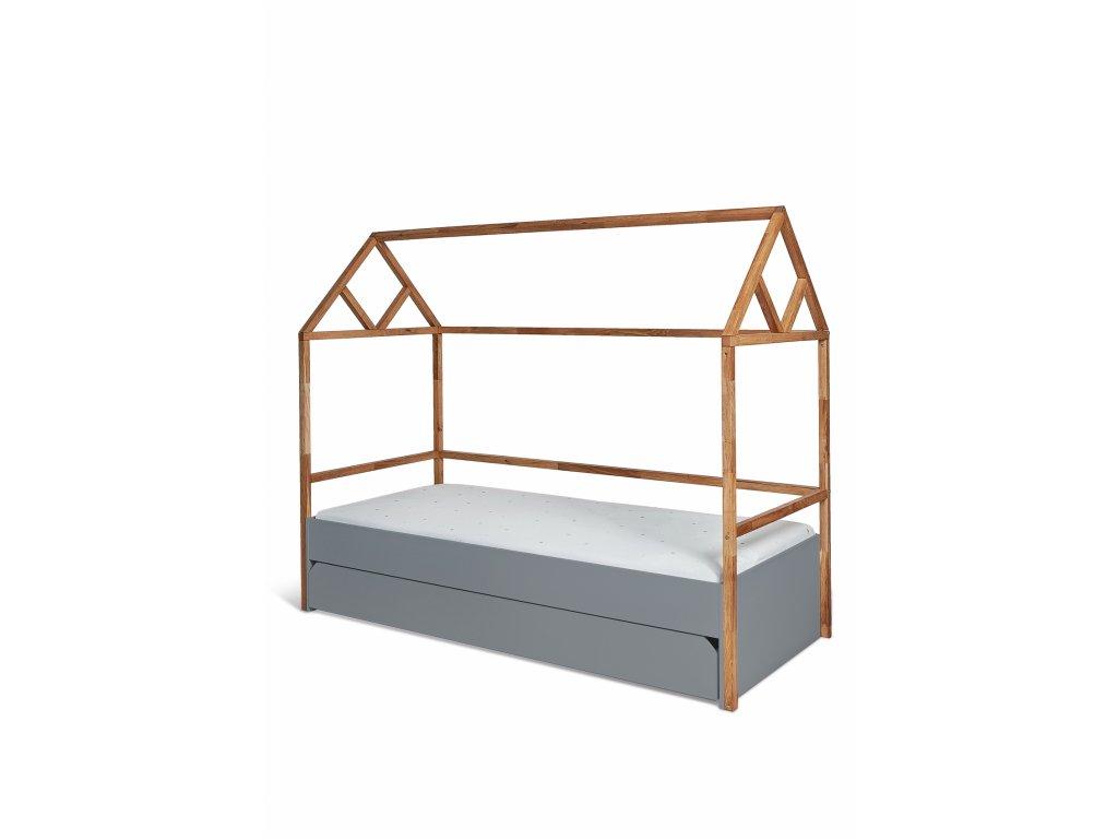 Detská posteľ domček Lotta 200x90 - sivá