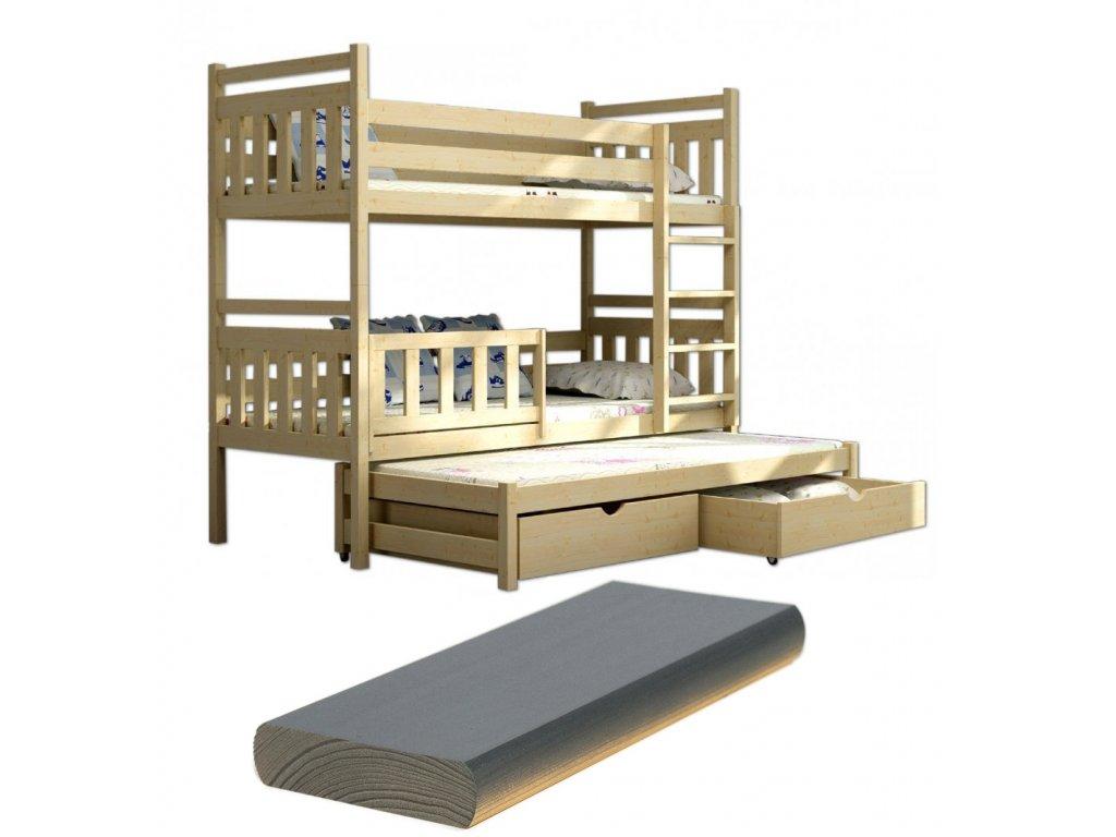 FA5376 Poschodová posteľ s prístelkou Petra 5 200x90 cm viac farieb 18