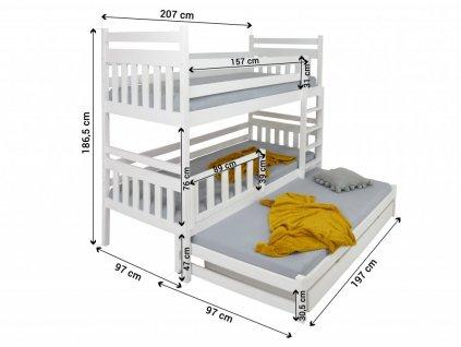 Poschodová posteľ s prístelkou Petra 5 180x80 cm - viac farieb