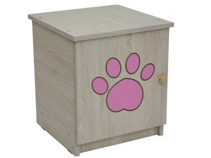 Nočný stolík Oskar gravírovaná čivava ružová - výpredaj