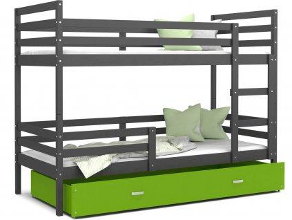 Jacek poschodová posteľ Sivá MDF 190x80