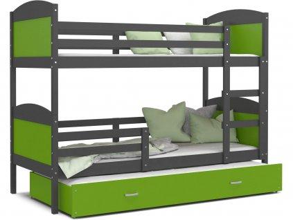 Poschodová posteľ Mates 3 grafit s prístelkou