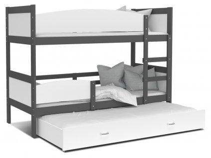 Poschodová posteľ Twist 3 Grafit 190x80