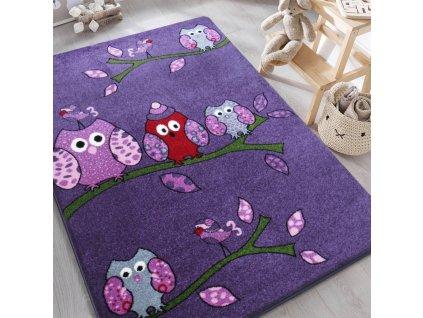 Detský fialový koberec Sovičky - rôzne rozmery