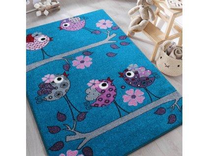 Detský tyrkysový koberec Vtáčiky - rôzne rozmery