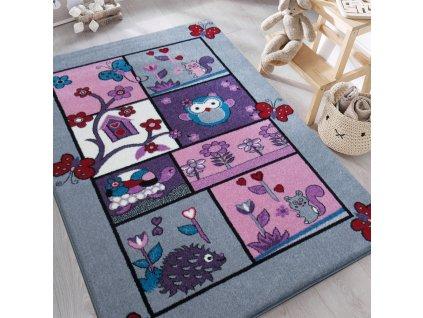 Detský sivý koberec Zvieratká - rôzne rozmery