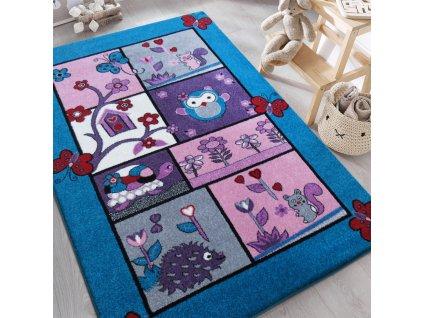 Detský tyrkysový koberec Zvieratká - rôzne rozmery