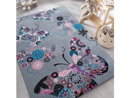 Detský sivý koberec Motýliky - rôzne rozmery