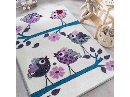 Detský krémový koberec Vtáčiky - rôzne rozmery