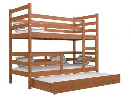 Janik 3 poschodová posteľ pre troch jelša 190x80