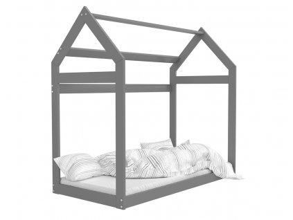 Domček Sivá detská posteľ 160x80