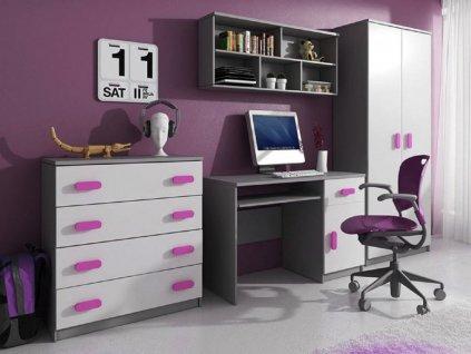 Nábytková stena SVEND - sivá/ružová