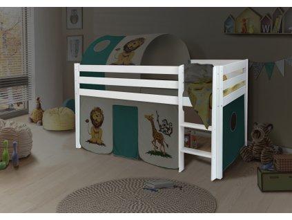 Vyvýšená detská posteľ POLA 90x200 - biela