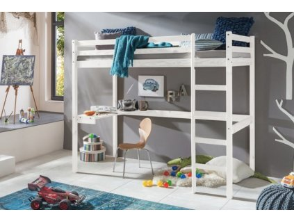 Vyvýšená detská posteľ Aria 200x90 - biela