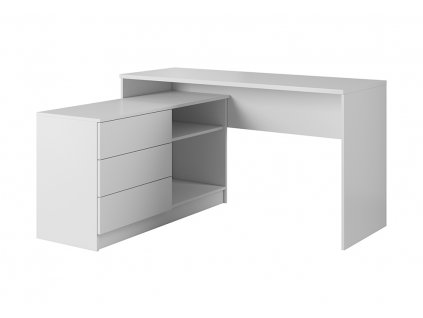 Písací stôl Lotus - biely, lavy roh