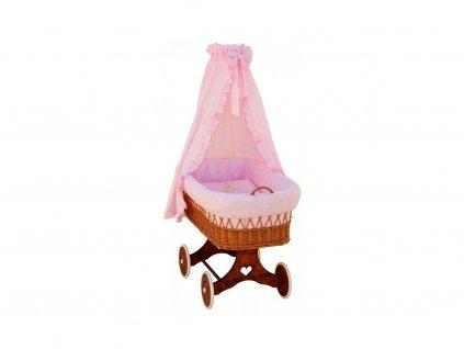 Prútený košík pre deti s baldachýnom Medvedík - ružový