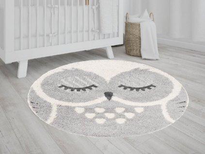Okrúhly detský koberec s motívom sovy 120x120 cm