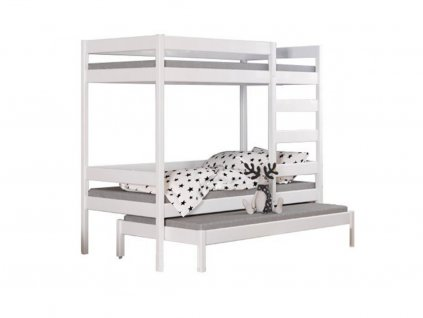 Poschodová posteľ s prístelkou biela THOR
