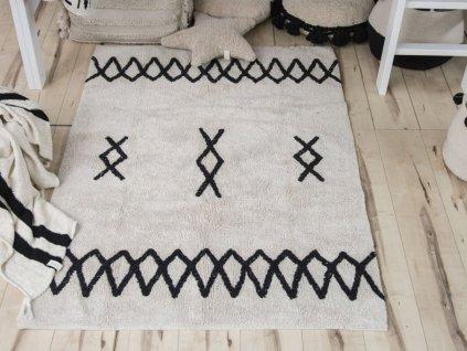 Detský prateľný koberec ATLAS Natural Black 120x160