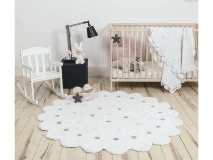 Okrúhly práteľný koberec Dots White
