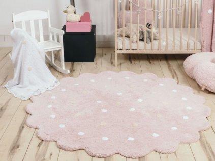 Okrúhly prateľný koberec Dots Pink